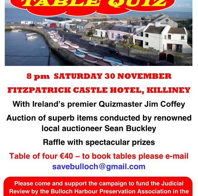 Bulloch Harbour campaign fundraiser Saturday 30 November 2019